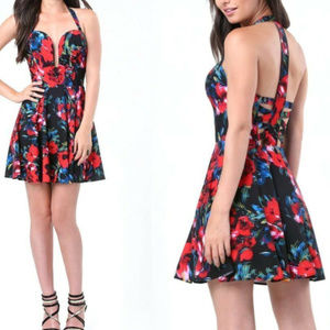 bebe multi print floral halter sexy dress L 10